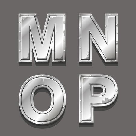 letras cromadas: Metal letras y símbolos MNOP Foto de archivo