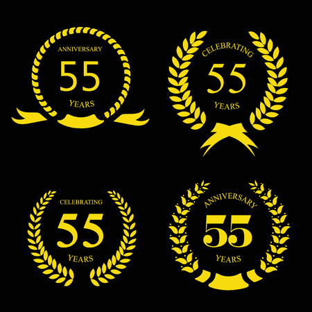 55  fifty five years Anniversary laurel golden label set vector