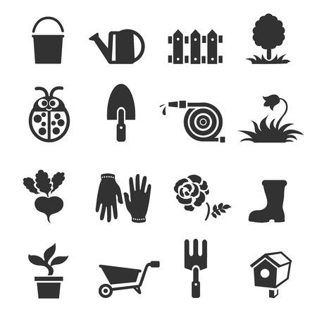 garden patio: Gardening lawn icons set vector