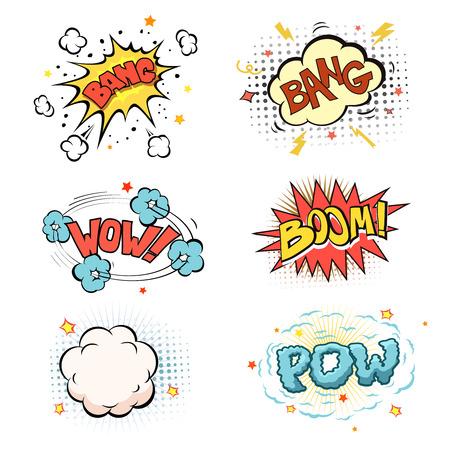 nubes caricatura: Auge. Explosión del cómic y la onda expansiva set vector