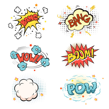 Boom. Comic book explosion and blast set vector