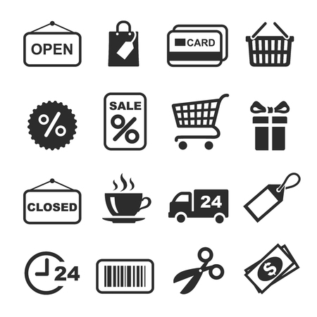 shopping icon: Shopping Icon black and white Set. Vector Illustration