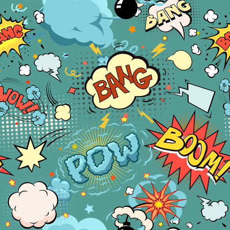 sounds: Seamless Comic Book Explosion, Bombs And Blast Set.  bubbles for speech, different sounds and arrows vector