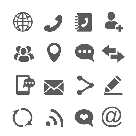 Contact communication icons set vector 向量圖像
