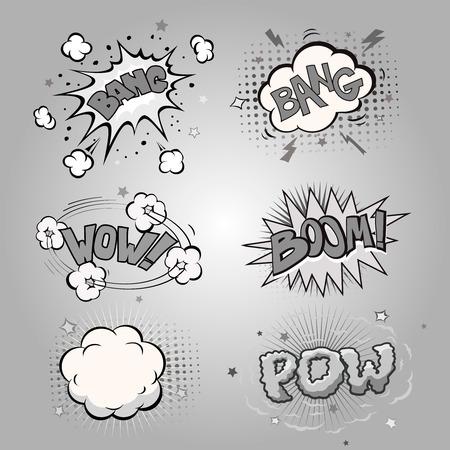 comic bubble: Boom. Comic book explosion set and speech bubble