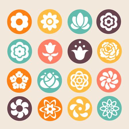 vector set: set of colorful flowers vector Illustration