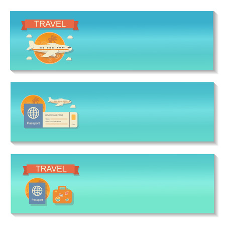 travel backgrounds: Summer travel - decorative horizontal vector banners set in flat style design trend. Summer travel vector backgrounds. Summer, travel and transport flat icons. Design elements. Illustration