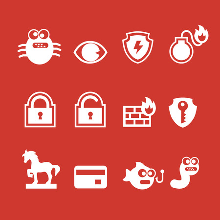 ddos: Set of cyber virus digital protection hacker attack icons vector