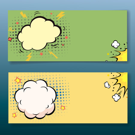 Comic book style horizontal explosion cloud banner set. Vector illustration Illustration