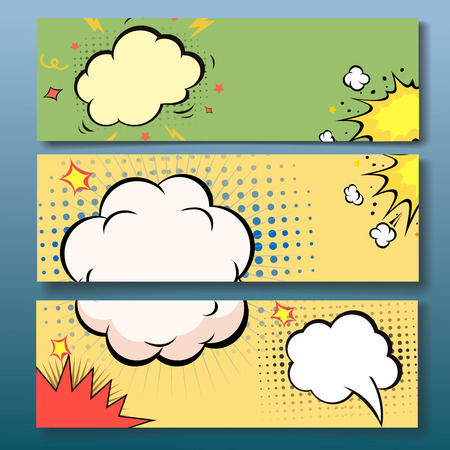 Set of comics boom backgrounds, vector illustration Ilustrace