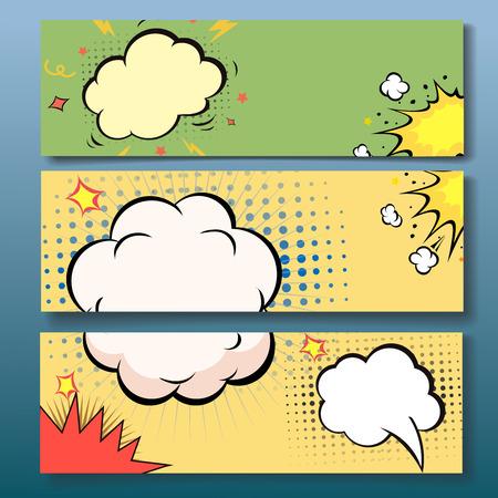 boom: Set of comics boom backgrounds, vector illustration Illustration