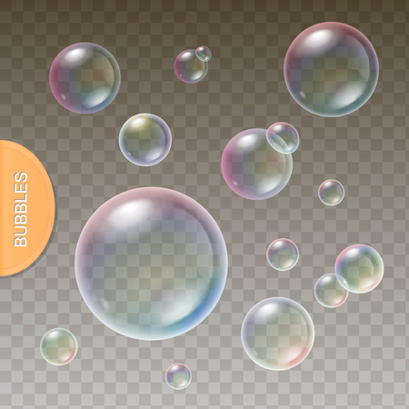 soap reflection: Realistic soap Transparent bubbles with colored  rainbow reflection set isolated vector illustration