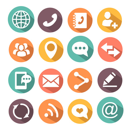 Contact Communications colorful Icons with envelop, mobile and message  Vector