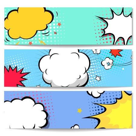 Set of comics boom speech bubble backgrounds, vector illustration  イラスト・ベクター素材