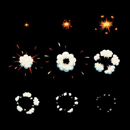 Ontploffen effect animatie en rook. Explosie cartoon frames Vector