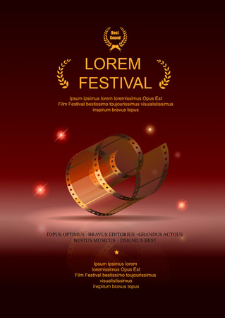 Camera film 35 mm roll gold, festival movie poster, Slide films frame, vector illustration Illustration