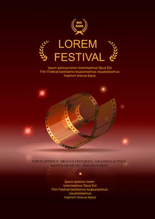 Camera film 35 mm roll gold, festival movie poster, Slide films frame, vector illustration Vectores