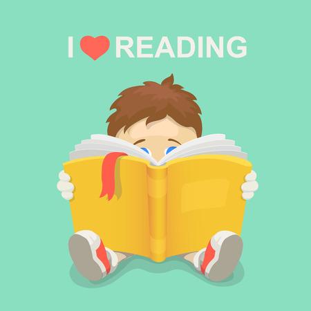 lectura: Muchacho con un libro. Me encanta leer. Día de la Alfabetización. ilustración vectorial