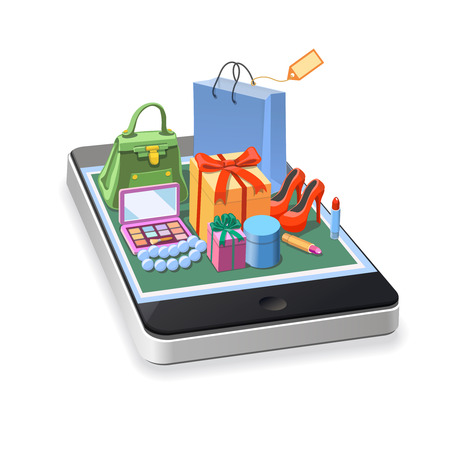 Illustrations mobile online shopping of  woman accessories concept. gift boxes, pomade, shoes, bag and cosmetics laying down on smartphone.  Vector illustration.