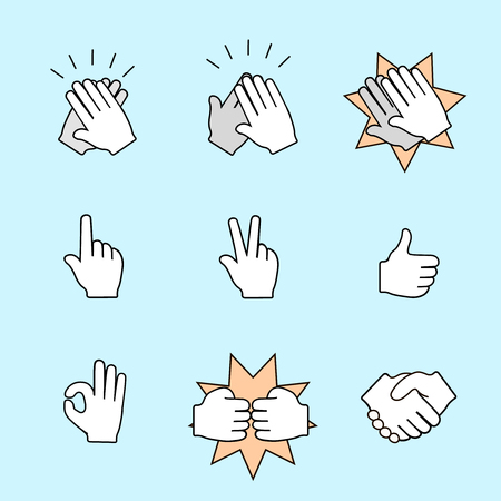 interpretations: Set of two hands icons.  Handshake, clapping applause. Vector color illustration Illustration