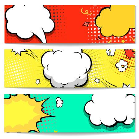 comico: Explosi�n de la cabecera del Web de la burbuja c�mica set - tebeos de la bandera de fondo. ilustraci�n vectorial Vectores
