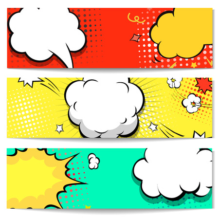 comic strip: Explosion comic bubble  web header set -  banner comics background.  Vector illustration