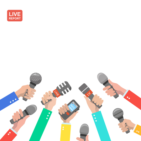 hot news: Live report concept, live news, hot news, news report, hands of journalists with microphones and digital recorders vector