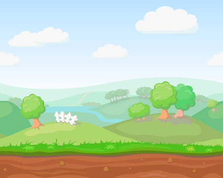 unending: Cartoon cute  country seamless horizontal landscape, nature vector illustration