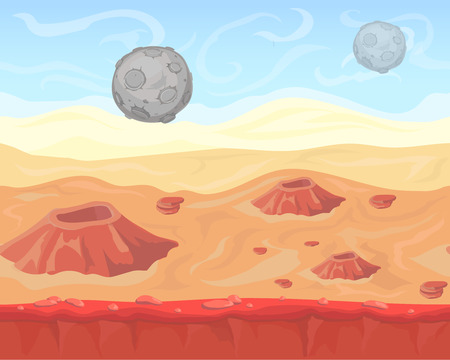 alien landscape: Fantasy seamless alien  space landscape for game design, vector  background