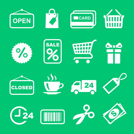 web shopping: Web icon white set. Shopping and sale pictogram Illustration