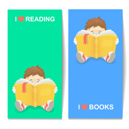 Boy reading a book vertical banner. cartoon illustration I LOVE BOOKS Illustration