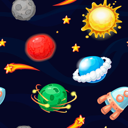 Seamless pattern with cartoon rocket and fantastic planets Stock Illustratie