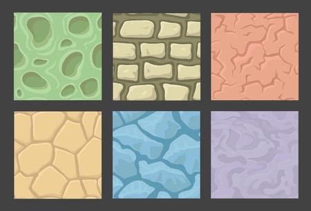 textures: Boden nahtlose Spiel Muster eingestellt, Stein Texturen Sammlung Illustration