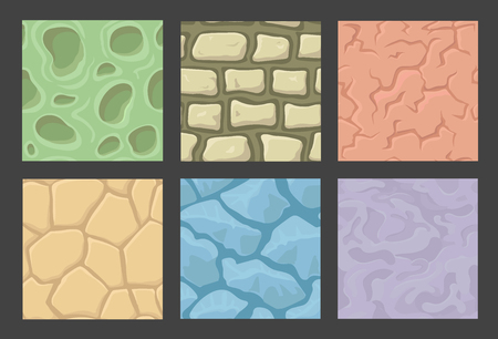Ground seamless game patterns set, stone textures collection