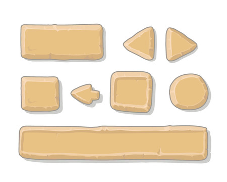 Cartoon stone ui game assets or buttons set, isolated on white