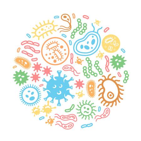 microbio: Las bacterias y los virus sobre un fondo circular, biolog�a, microbiolog�a, ilustraci�n infecci�n microbio coloreadas