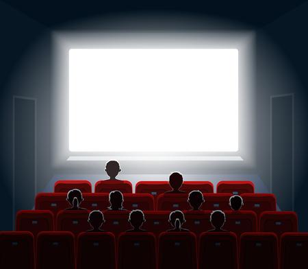 silueta hombre: La gente que mira películas en la sala de cine. Pantalla de cine, espectáculo o concierto. ilustración.