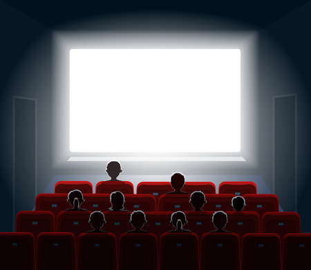 cinema screen: People watching movie at cinema hall. Film screen, show or concert. illustration. Stock Photo