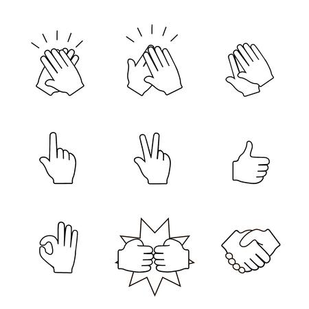 manos aplaudiendo: Conjunto de dos iconos de las manos. Apretón de manos, aplaudiendo aplausos.