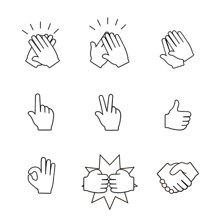 clapping: Set of two hands icons.  Handshake,  clapping applause.  Illustration