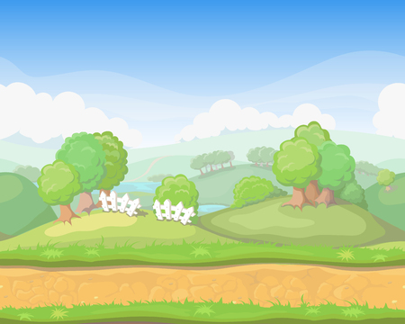 forest landscape: Cartoon cute  country seamless horizontal landscape, game background illustration