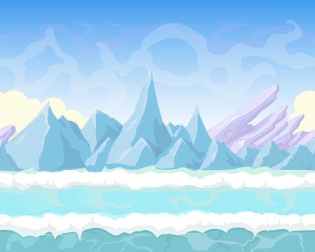 rock layers: Seamless cartoon fantasy landscape with  mountains, snow   and ice for game design
