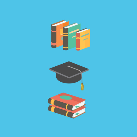 Education and knowledge concept.  book and mortarboard. Flat style isometric 3d illustration isolated on  blue background