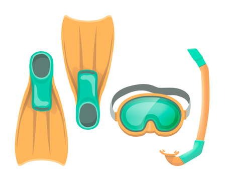 Colorful illustration of diving mask, snorkel flippers on white isolation background. Swimming equipment