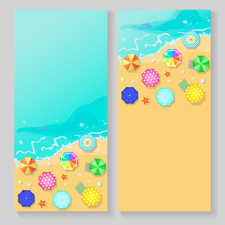 holiday vacation: summer travel banners with beach umbrellas, waves and starfish. World travel and summer vacation planning Holiday and journey