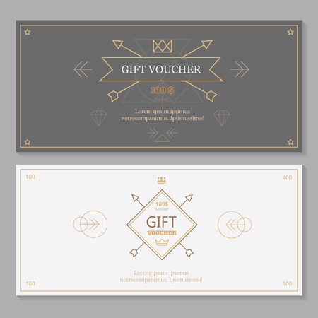 business invitation: Gift voucher template with hipster design, line art