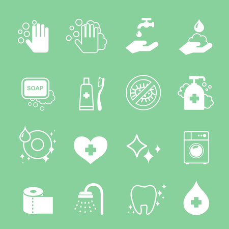 clean dishes: Hygiene and cleaning white icons set. Hand wash, soap, toilet paper or Toothpaste.