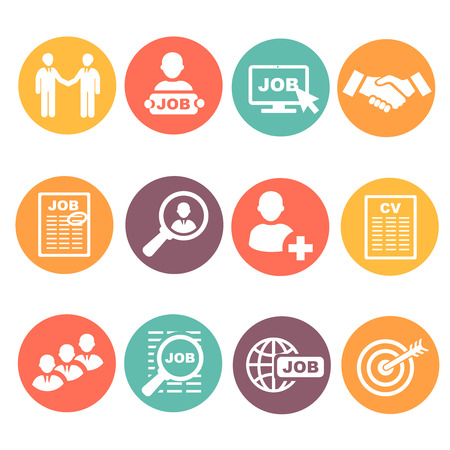 job hunting: job hunting, job search, human resources icons colored set Stock Photo