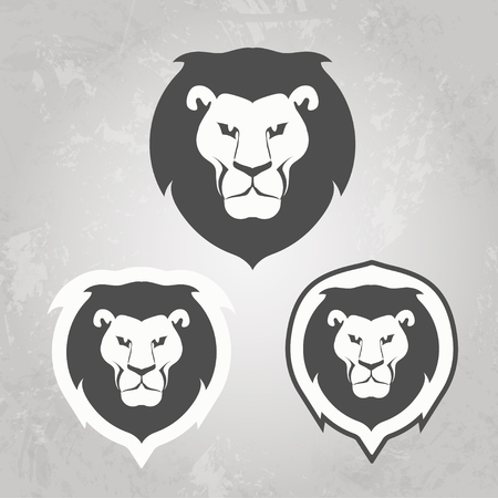 convey: Set of Lion templates, for your business, collection of symbols to convey idea of strength power pride honor guard security heritage and traditions Stock Photo