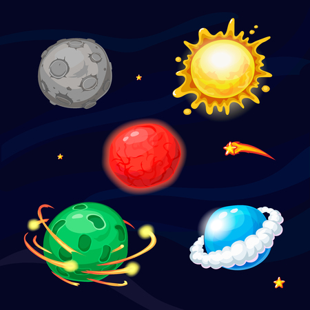 blue star: Set of cartoon fantastic alien planets